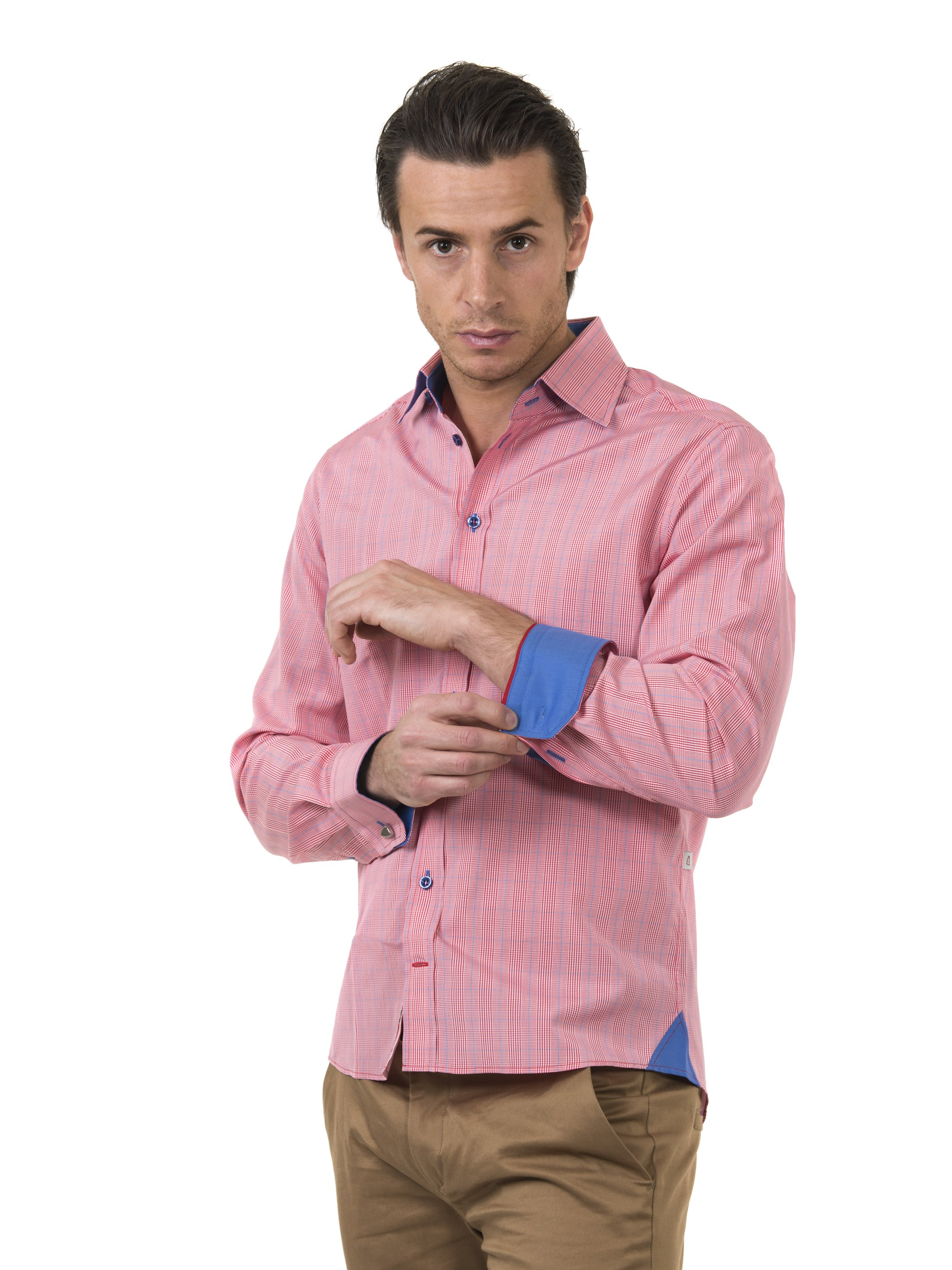 Profilskjorta Ljungström Red/Pink Checkered Slim fit storlek Large