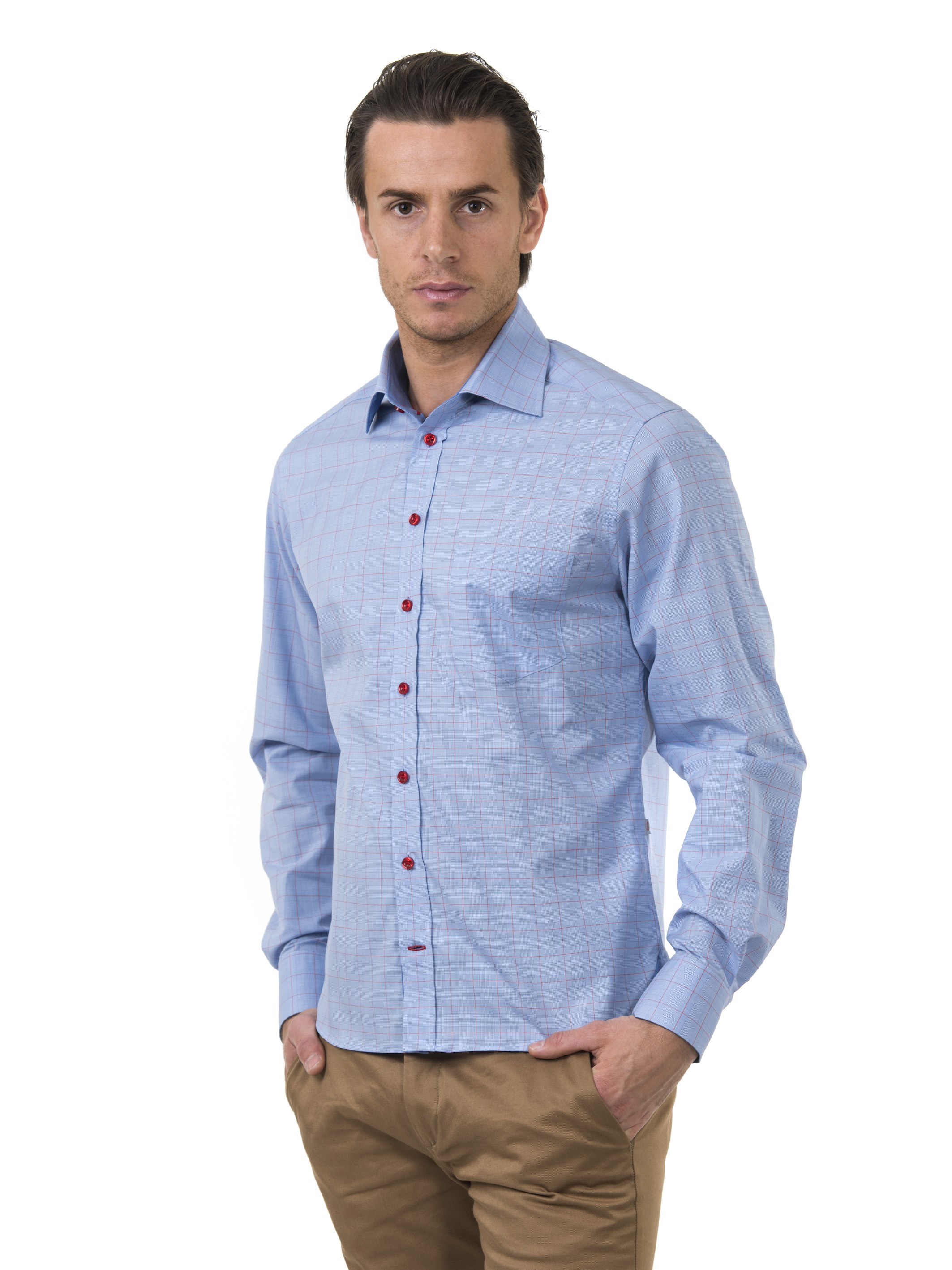 Profilskjorta Ljungström Blue Checkered Leisure Slim fit i  Medium